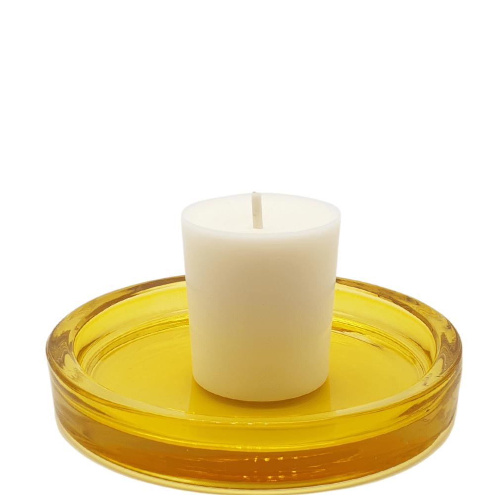 Coupelle en verre jaune transparent bougie